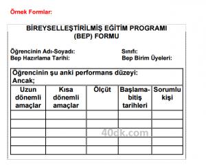 özel eğitim formları