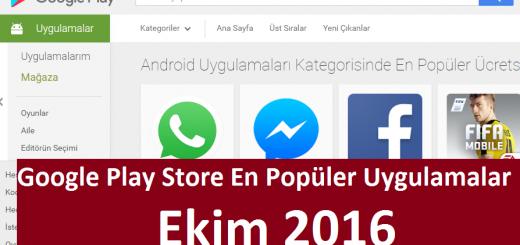 Play Store En Popüler Uygulamalar Ekim 2016