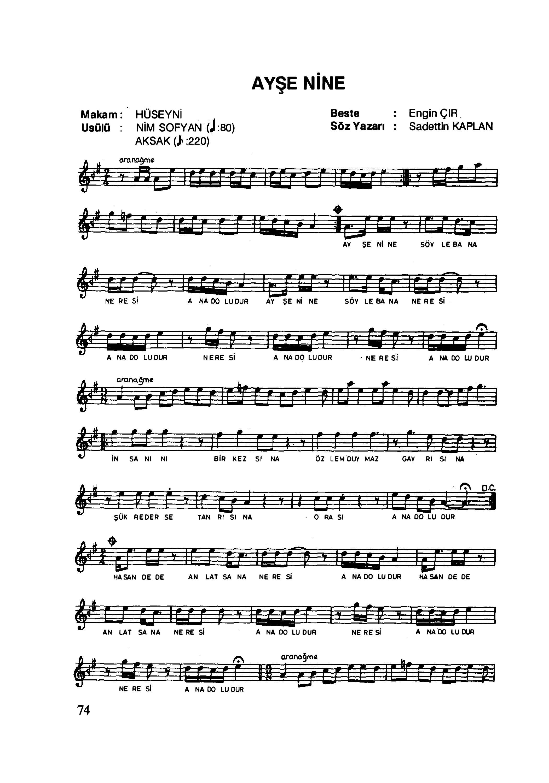 ayşe nine çocuk şarkısı notaları