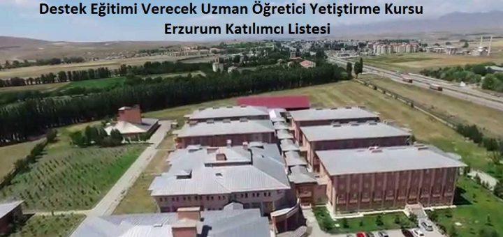 Destek Eğitimi Verecek Uzman Öğretici Yetiştirme Kursu Erzurum Katılımcı Listesi